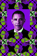 Barack Obama Digital Art Framed Prints - Obama Abstract Window 20130202verticalm88 Framed Print by Wingsdomain Art and Photography
