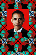 Barack Obama Digital Art Framed Prints - Obama Abstract Window 20130202verticalp0 Framed Print by Wingsdomain Art and Photography