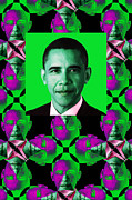 President Obama Prints - Obama Abstract Window 20130202verticalp128 Print by Wingsdomain Art and Photography
