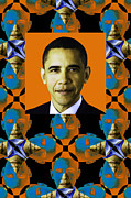 Barack Obama Digital Art Framed Prints - Obama Abstract Window 20130202verticalp28 Framed Print by Wingsdomain Art and Photography