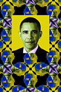 Barack Obama Digital Art Framed Prints - Obama Abstract Window 20130202verticalp55 Framed Print by Wingsdomain Art and Photography