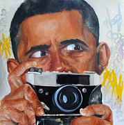 Obama Paintings - Obama Cam by Desiree Kelly