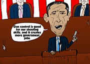 Editorial Cartoon Mixed Media - Obama caricature on guns and govt jobs by OptionsClick BlogArt