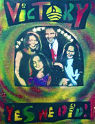 Barack Obama Painting Framed Prints - Obama Family Victory Framed Print by Tony B Conscious