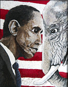 Obama Mixed Media Framed Prints - Obama Framed Print by Heidi Hooper