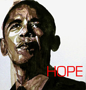 Image  Paintings - Obama Hope by Paul Lovering