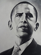 Black President Pastels Prints - Obama Print by Idorenyin Sam Awak