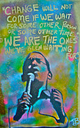 Democrat Painting Posters - Obama In Living Color Poster by Tony B Conscious