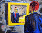 Obama Paintings - Obama in the Mirror by Donald William