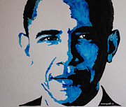 President Obama Mixed Media Prints - Obama. Print by Nancy Mergybrower