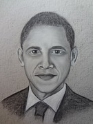 Barack Drawings - Obama Portrait by Trishia Peterson
