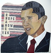 Original Tapestries - Textiles Prints - Obama quilt Print by Peche Brown