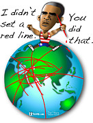 Barack Obama Digital Art Prints - Obama Red Lines Print by Dan Youra