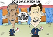 Barack Obama Mixed Media - Obama Romney election day cartoon by OptionsClick BlogArt