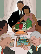 Bill Clinton Digital Art Posters - Obama Thanksgiving Poster by Jaymes Thompson