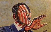 Obama Mixed Media Metal Prints - Obama...A State of Mind Metal Print by James  Lalepop Becker