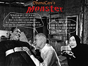 Obamacare Framed Prints - ObamaCares Monster Framed Print by Steven Love