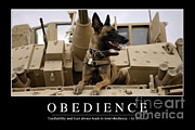 Us Army Tank Posters - Obedience Inspirational Quote Poster by Stocktrek Images