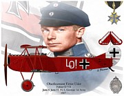 Pour Mixed Media Prints - Oberleutnant Ernst Udet Print by A Hermann