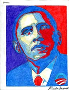 Barrack-obama Drawings Prints - Obey Obama Print by Ricky Lozano