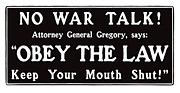 Wwi Mixed Media Metal Prints - Obey The Law Keep Your Mouth Shut Metal Print by War Is Hell Store