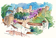 Featured Drawings - Obidos 01 by Miki De Goodaboom