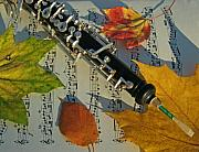 Autumn Leaves Metal Prints - Oboe and Sheet Music on Autumn Afternoon Metal Print by Anna Lisa Yoder