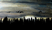 Canadian Geese Mixed Media - Obscured Horizons by R Kyllo