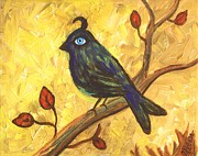 Surrealistic Paintings - Observant Bird 101 by Linda Mears