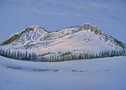Snow-covered Landscape Pastels - Observation Peak by Michele Myers