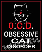 Ocd Framed Prints - Obsessive Cat Disorder Framed Print by Daryl Macintyre