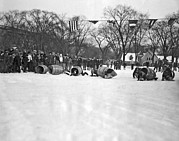 Old Skates Prints - Obstacle Ice Skating Race In Chicago Print by Underwood Archives