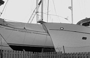 Docked Sailboats Prints - Ocean Adventure Until Then The Two Are In Dry Dock Monochrome  Print by Rosemarie E Seppala