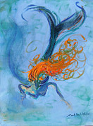Curly Haired Posters - Ocean Angel Poster by Sandra Martin Hudgins