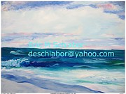 Impressionistic Drawings - Ocean Assateague Virginia by Eric  Schiabor