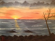 Ocean At Sunset Print by Tim Blankenship