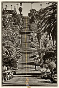 Double Yellow Line Prints - Ocean Beach Asphalt Surfin - Santa Cruz Ave Print by Russ Harris