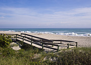 Sea Platform Prints - Ocean beach at Indialantic in Florida Print by Allan  Hughes