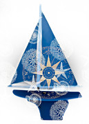Compass Mixed Media - Ocean Blue by Frank Tschakert
