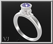 Custom Ring Jewelry - Ocean Blue Sapphire Sterling Silver Engagement Ring by Roi Avidar