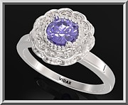 Promise Ring Jewelry - Ocean Blue Sapphire Sterling Silver Engagement Ring - Statement Flower Ring by Roi Avidar