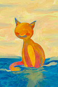 Wave Mixed Media - Ocean cat rules over the oceans by Paulo Brabo