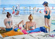 Flip-flops Paintings - Ocean City Girls by Judith Scull