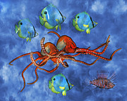 Octopuses Prints - Ocean Fauna Series I Nautical Accord Print by Betsy A Cutler East Coast Barrier Islands