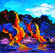 Pele Paintings - Ocean Fire by Linda S Watson