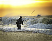 Vicki Jauron Metal Prints - Ocean Fisherman at Sunrise Metal Print by Vicki Jauron