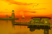 Lighthouse At Sunset Digital Art - Ocean front Landscape by John Junek