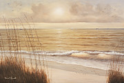 Sea Shore Prints Painting Originals - Ocean Glow by Diane Romanello