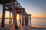 Jerseyshore Photo Originals - Ocean Grove Pier Sunrise by Michael Ver Sprill