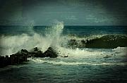 Vintage Digital Art Digital Art Metal Prints - Ocean Impact - Jersey Shore Metal Print by Angie McKenzie